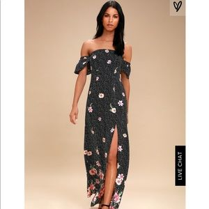 Lulus Dancing Daisies Off the Shoulder Maxi Dress